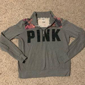 PINK Grey & Pink Floral Quarter ZIP Pullover